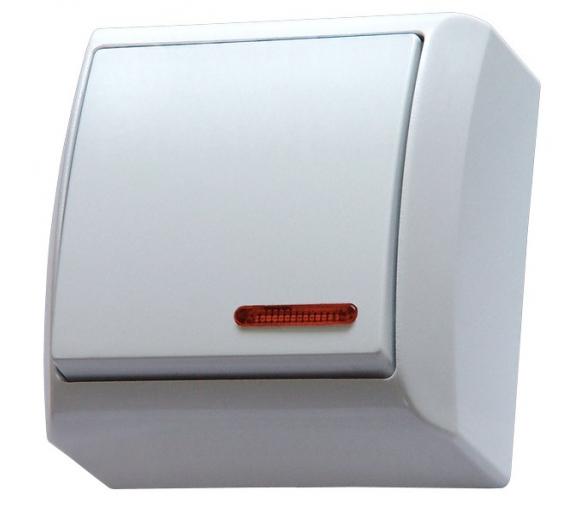 Łącznik jednobiegunowy z podświetleniem pomarańczowym biały Bis ŁN-1BS/00