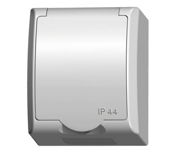 Gniazdo pojedyncze z uziemieniem z przesłonami torów prądowych wieczko w kolorze wyrobu biały Fala GNH-1HZP/00/w