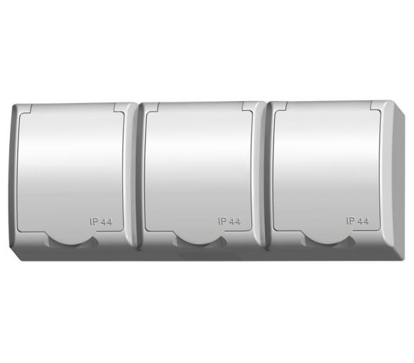 Gniazdo potrójne z uziemieniem schuko wieczko w kolorze wyrobu biały Fala GNH-3HS/00/w