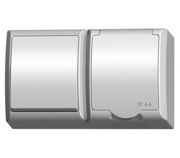 Łącznik jednobiegunowy + gniazdo pojedyncze wieczko w kolorze wyrobu biały Fala ZH-Ł1G/00/w