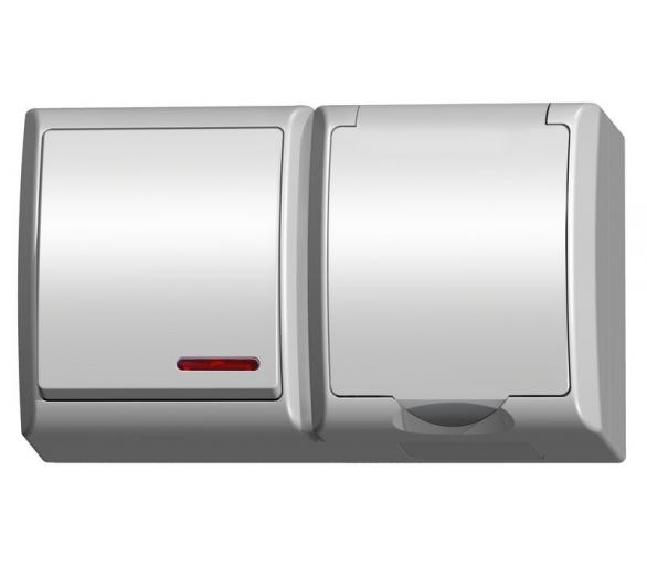 Łącznik jednobiegunowy z podświetleniem + gniazdo pojedyncze wieczko w kolorze wyrobu biały Fala ZH-Ł1SG/00/w