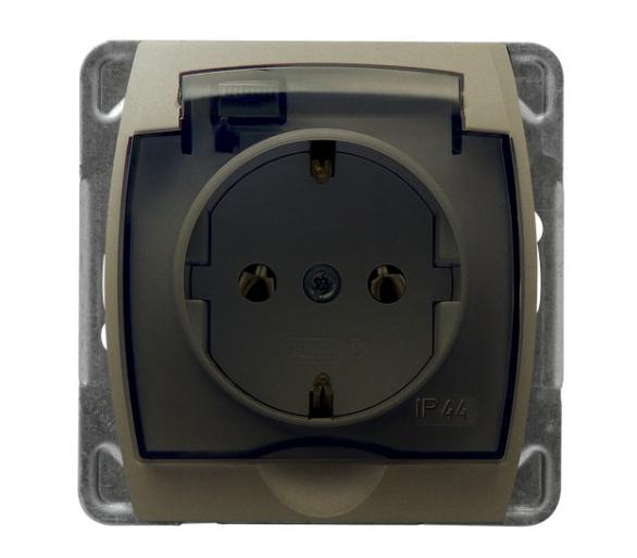 Gniazdo bryzgoszczelne z uziemieniem schuko IP-44 wieczko przezroczyste satyna/satyna Gazela GPH-1JS/m/16/16/d