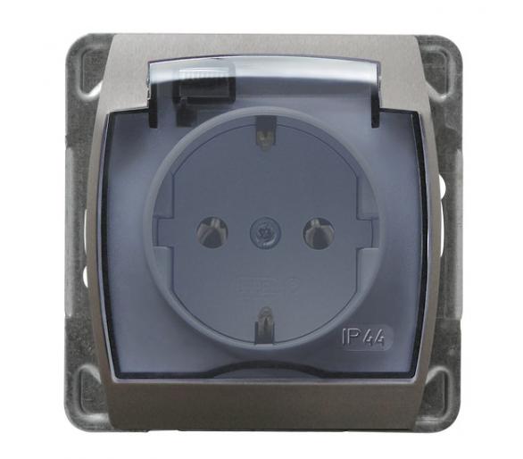 Gniazdo bryzgoszczelne z uziemieniem schuko IP-44 wieczko przezroczyste srebro/tytan Gazela GPH-1JS/m/18/23/d