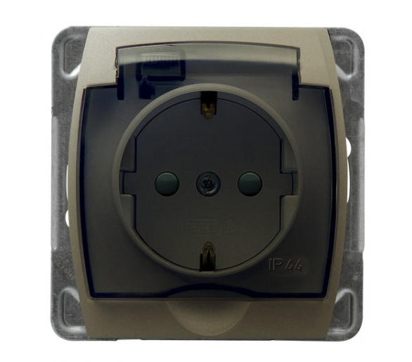 Gniazdo bryzgoszczelne z uziemieniem schuko IP-44 z przesłonami torów prądowych wieczko przezroczyste satyna/satyna Gazela GPH-1