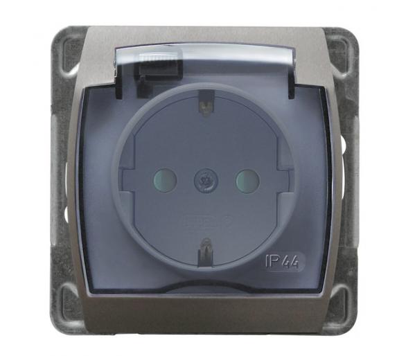 Gniazdo bryzgoszczelne z uziemieniem schuko IP-44 z przesłonami torów prądowych wieczko przezroczyste srebro/tytan Gazela GPH-1J