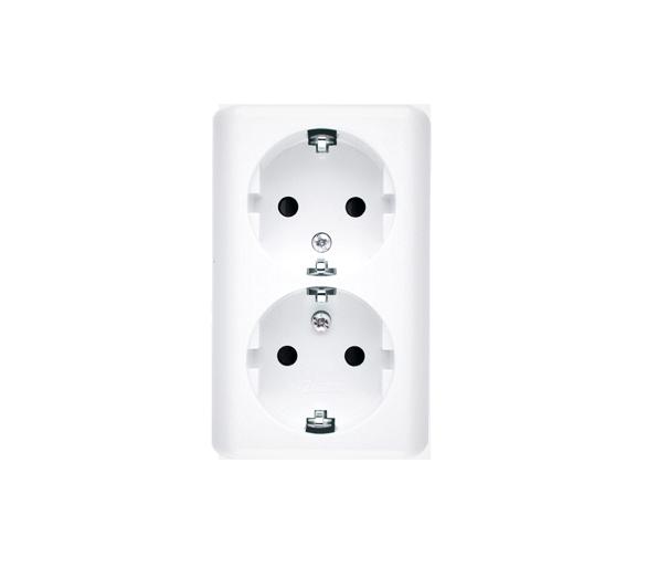 Gniazdo wtyczkowe podwójne z uziemieniem typu Schuko z przesłonami torów prądowych - wersja skandynawska (kompletny produkt) 16A